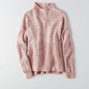 American eagle pink mock neck sweater